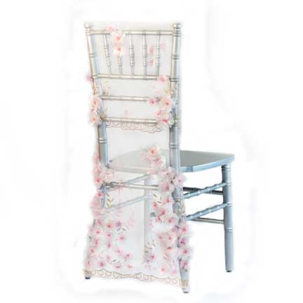 Embellishments, Pink Floral Sheer Chair Back