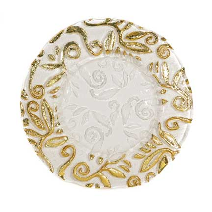 Charger Plate, Glass with Gold Leaf Edge