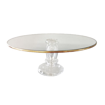 Glass With Gold Edge Cake Plate