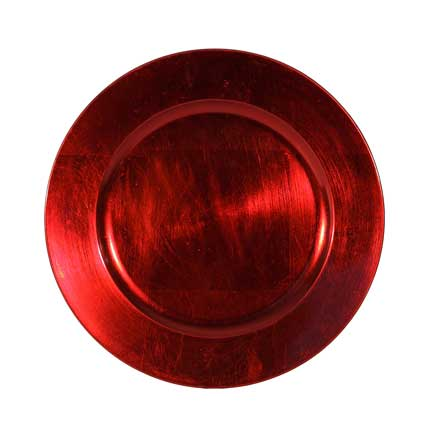 Charger Plate, Dark Red Acrylic