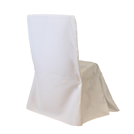 Chair Cover, White Poly Square Back